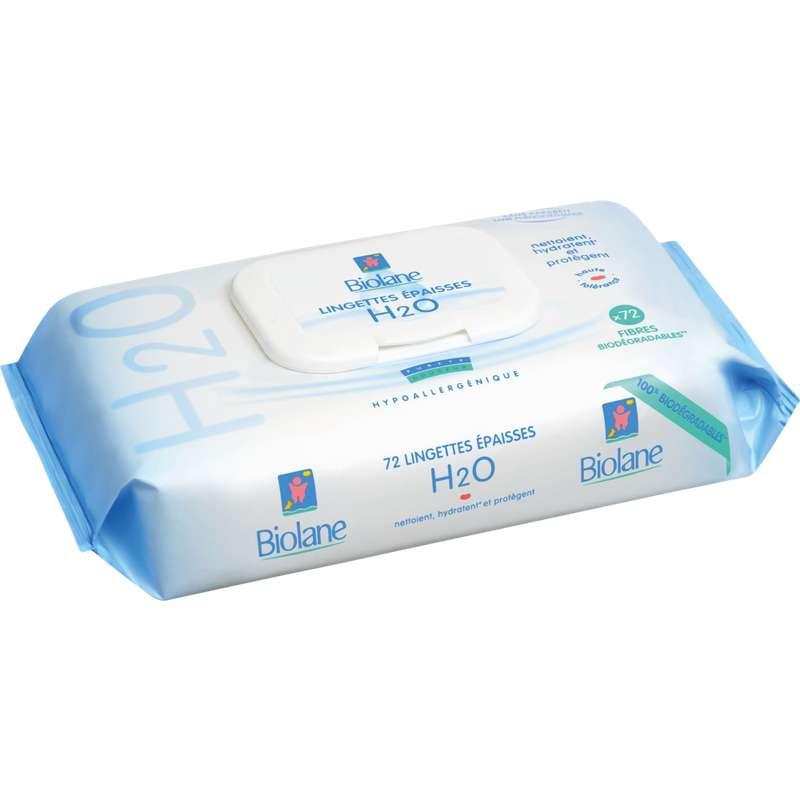 Lingettes épaisses pour bébé H2O, Biolane (x 72)