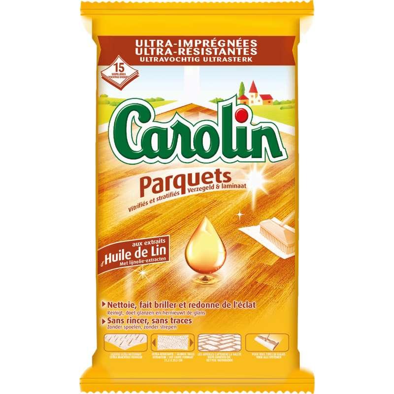 Lingettes serpillères nettoyantes pour sols spécial parquet, Carolin (x 15)