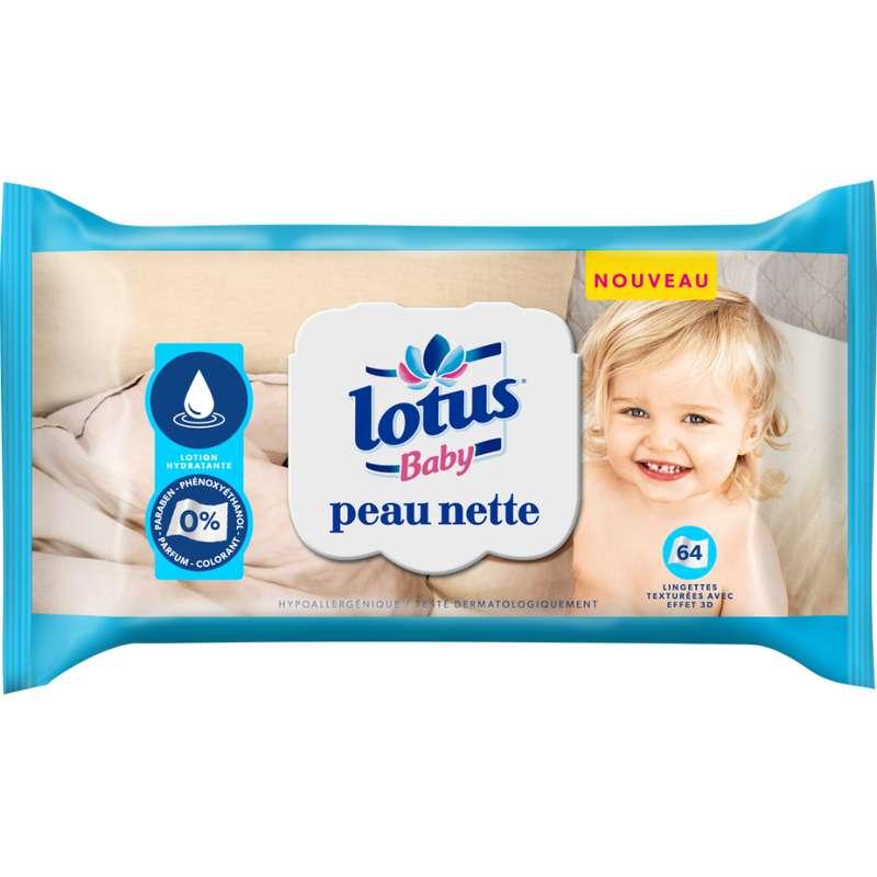 Lingettes peau nette lotion hydratante, Lotus baby (x 64)
