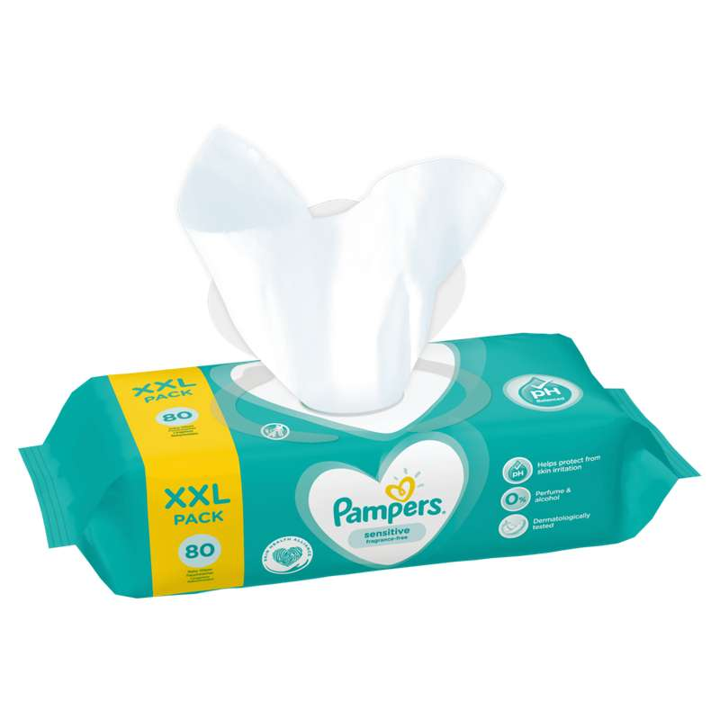 Lingettes sensitive, Pampers (x 80)