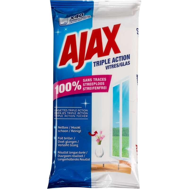Lingettes spéciales vitres, Ajax (x 40)