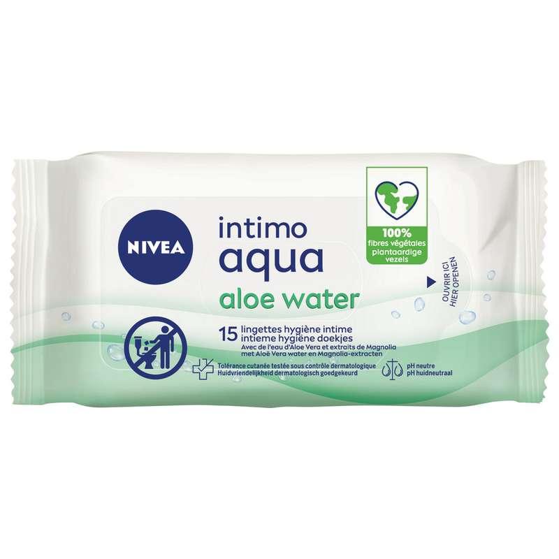Lingettes toilette intime Intimo Aqua Aloe Water, Nivea (x 15)