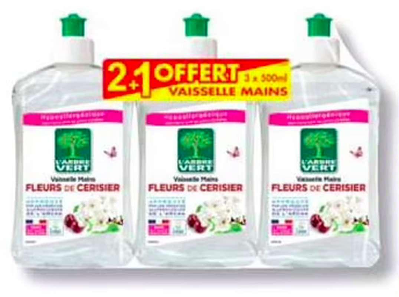Liquide vaisselle à la fleur de cerisiers, L'Arbre Vert OFFRE SPECIALE, 2 + 1 OFFERT (3 x 500 ml)