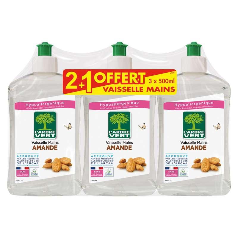 Liquide vaisselle écologique à l'amande, L'Arbre Vert OFFRE SPECIALE 2 + 1 OFFERT (3 x 500 ml)