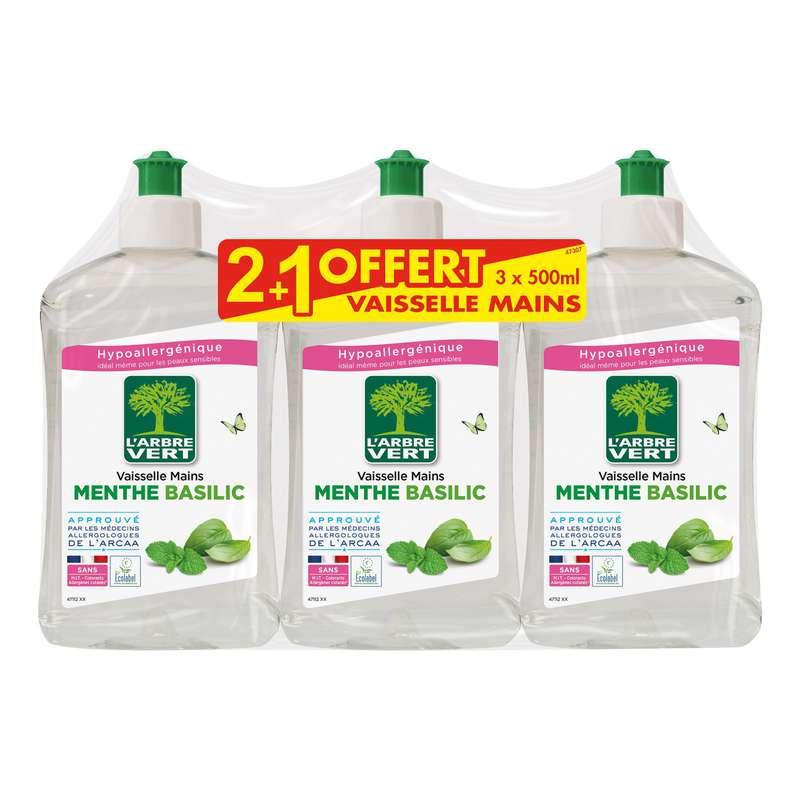 Liquide vaisselle et mains concentré menthe-basilic, L'arbre Vert OFFRE SPECIALE 2 + 1 OFFERT (3 x 500 ml)
