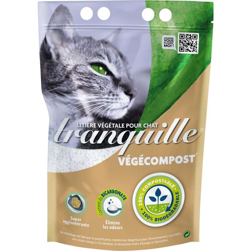 Litière végétale pour chat végécompost & bicarbonate, Tranquille (4 L)