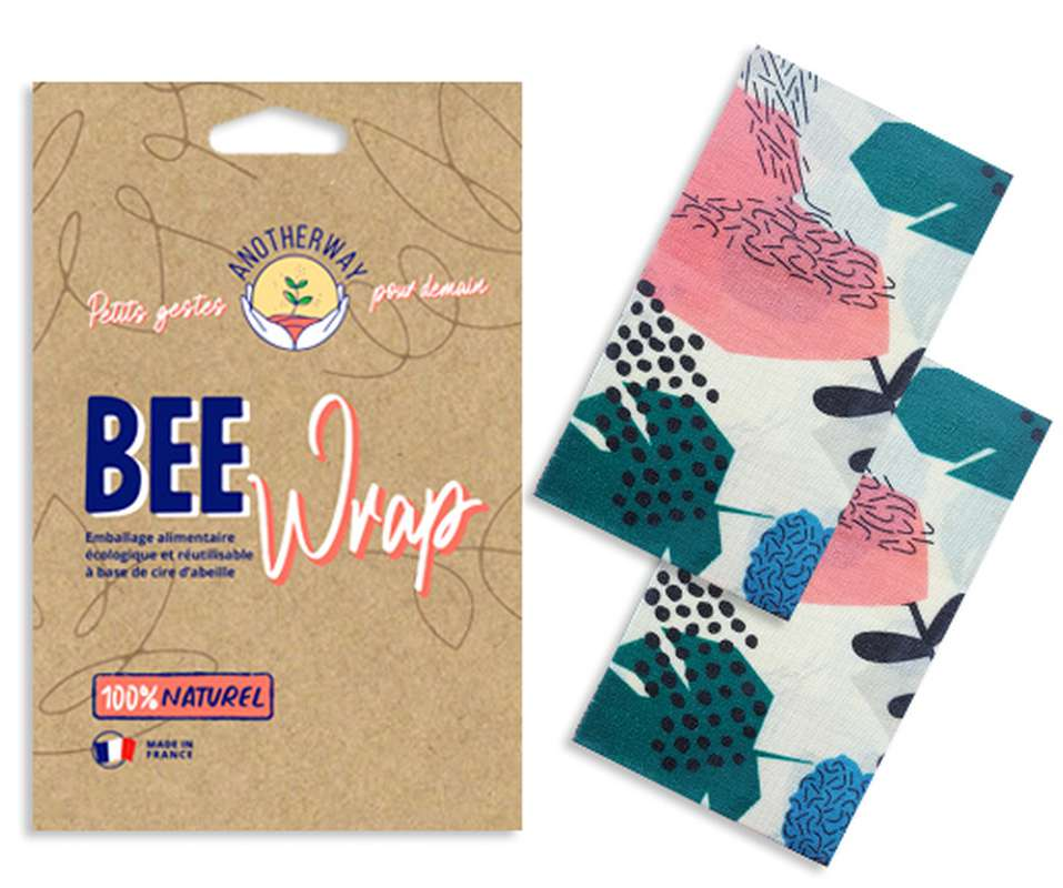 Emballage alimentaire réutilisable Bee Wrap - Tropical, Anotherway (x 2, tailles M)