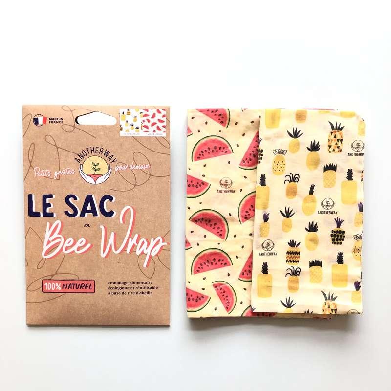 Sac alimentaire réutilisable Bee Wrap - Original, Anotherway (x 2, tailles S et M)