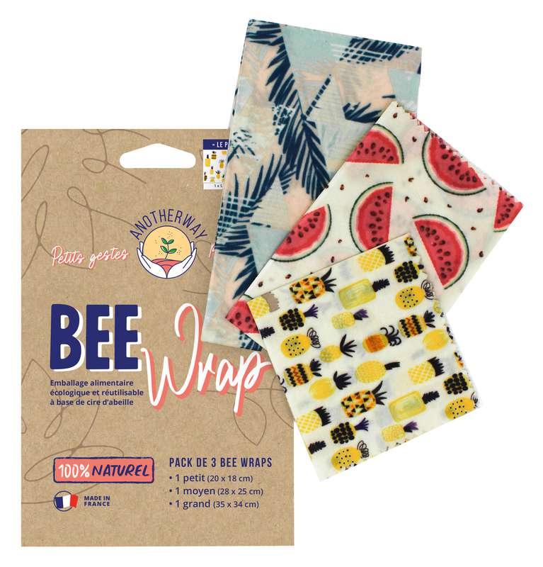 Emballage alimentaire réutilisable Bee Wrap - Original, Anotherway (x 3, tailles S, M et L)