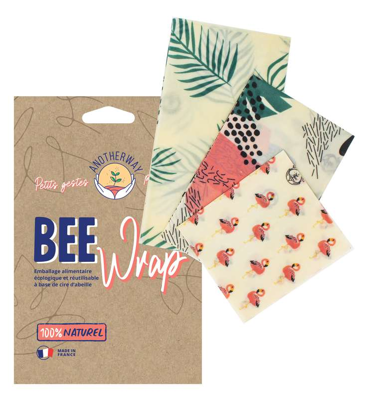Emballage alimentaire réutilisable Bee Wrap - Tropical, Anotherway (x 3, tailles S, M et L)