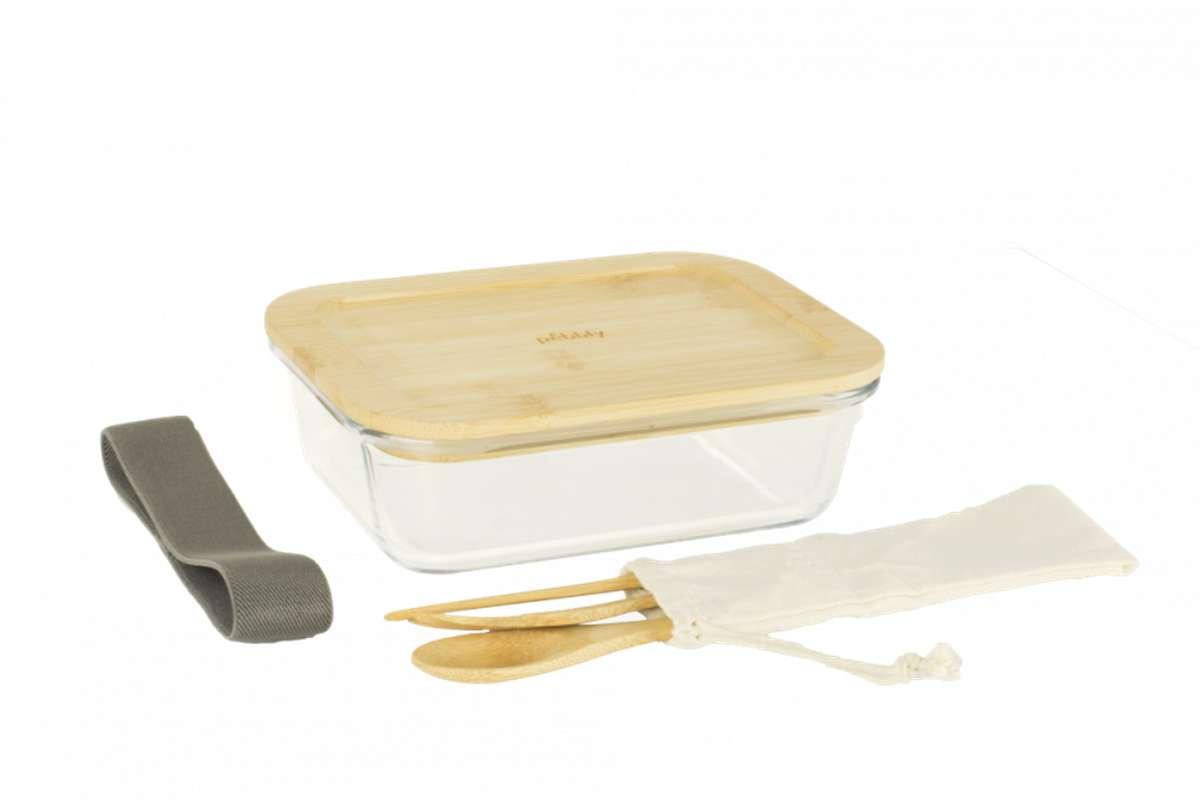 Lunch box nomade en verre et bambou avec ses couverts en bambou 1 L, Peebly