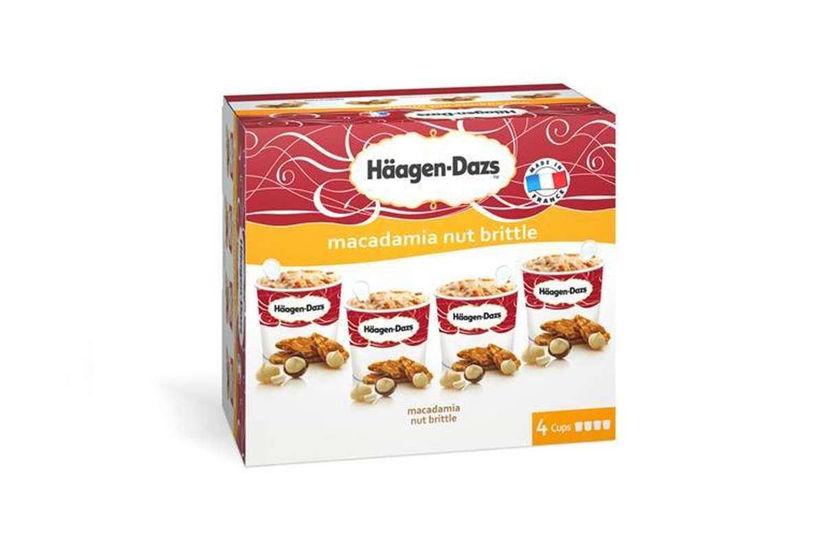 Glaces vanille macadamia nut brittle, Haagen dazs (x 4)