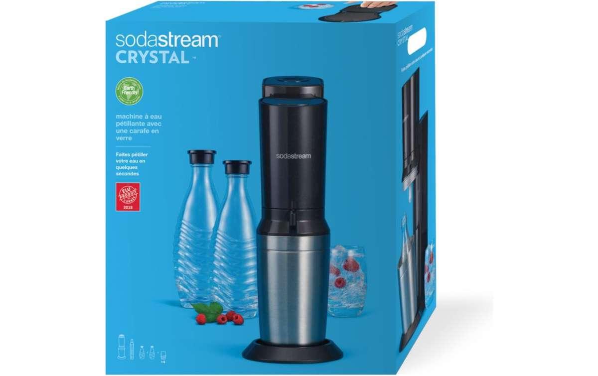 Sodastream Machine Crystal Noire - Pack 2 bouteilles + 4 verres et CO² inclus