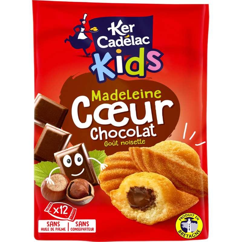 Madeleines coeur chocolat noisette, Ker Cadelac (x 12, 420 g)