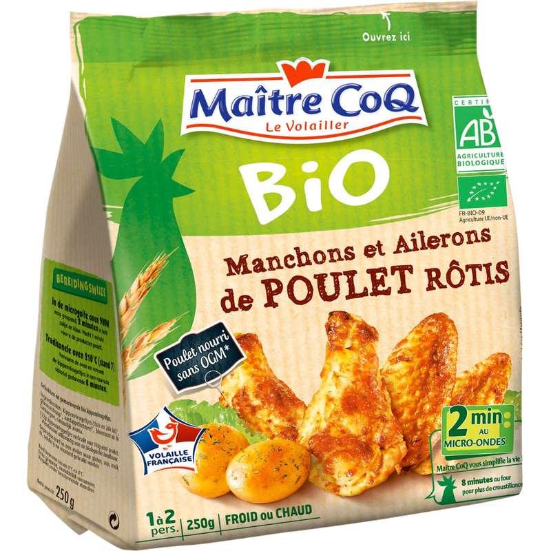 Manchons et ailerons de poulet rôti BIO, Maître Coq (250 g)