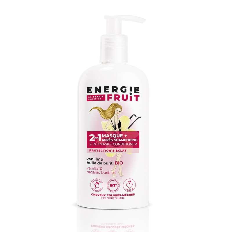 Masque soin 2 en 1 pour cheveux colorés parfum Vanille et Huile de Buritis, Energie Fruit (300 ml)