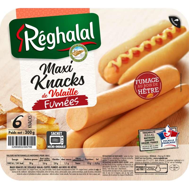 Maxi Knacks de volaille fumées Halal, Reghalal (x 6, 300 g)