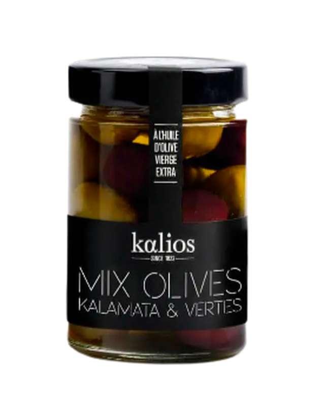 Mélange d'olives Kalamata & Chalkidiki à l'huile d'olive, Kalios (310 g)