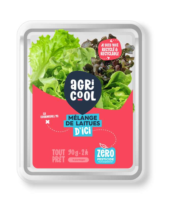 Mélange de laitues ultra-local, frais, sans pesticides, Agricool (90 g), France