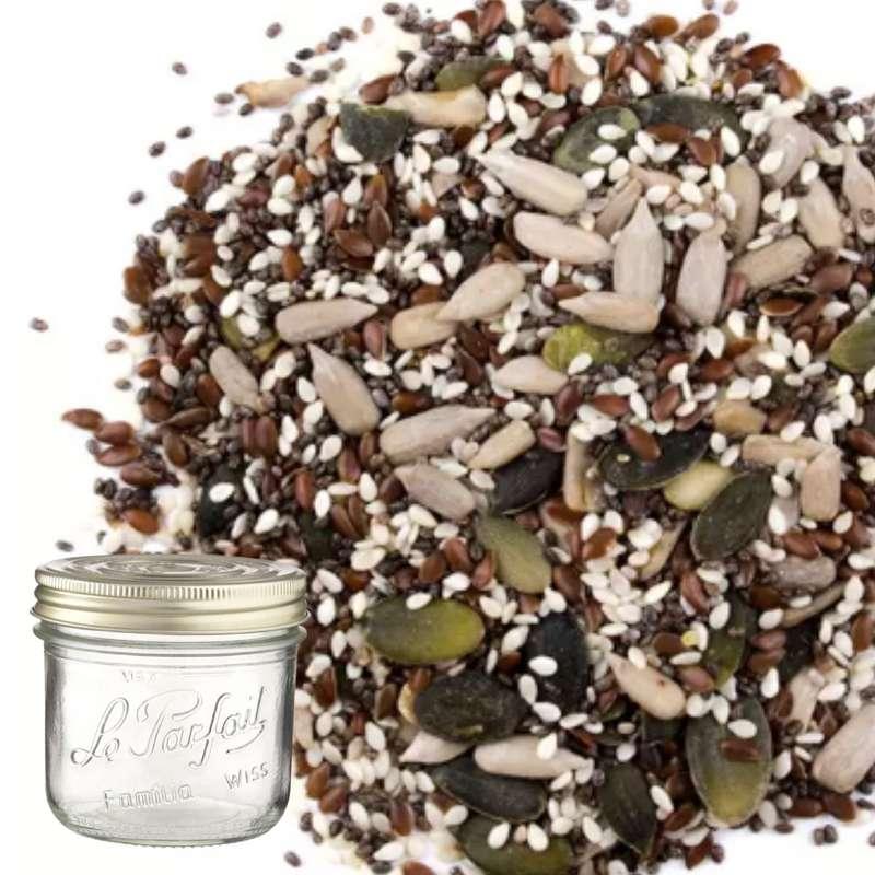 Mélange gourmand de graines BIO bocal consigné / 2,5€ récupérable (500 g)