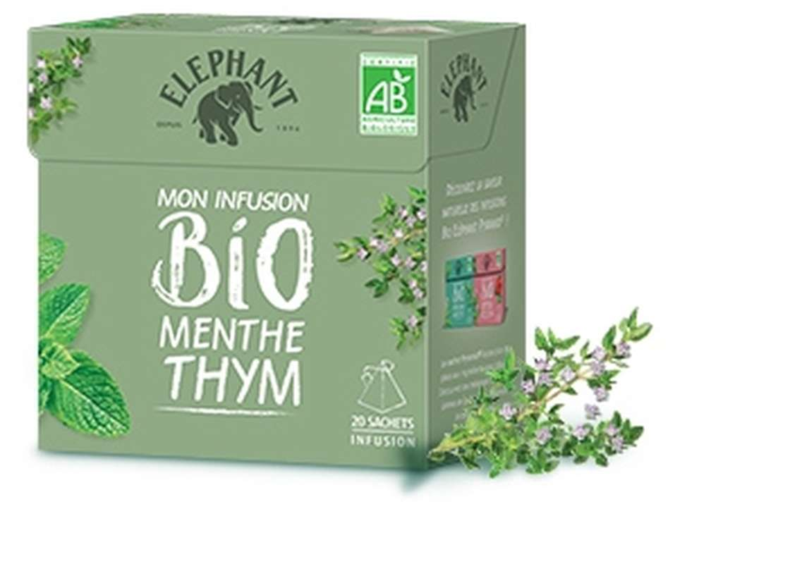 Infusion menthe thym BIO, Elephant (20 sachets)