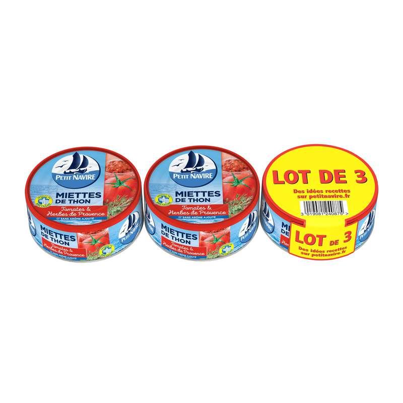 Miettes de thon tomate et herbes de Provence, Petit Navire LOT DE 3 (3 x 160 g)