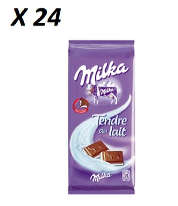 Chocolat tendre au lait, Milka LOT DE 24 (2 x 100 g)