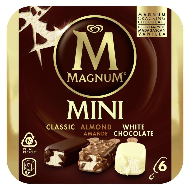 Mini Magnum assortis blanc/amande/classic (x 6)