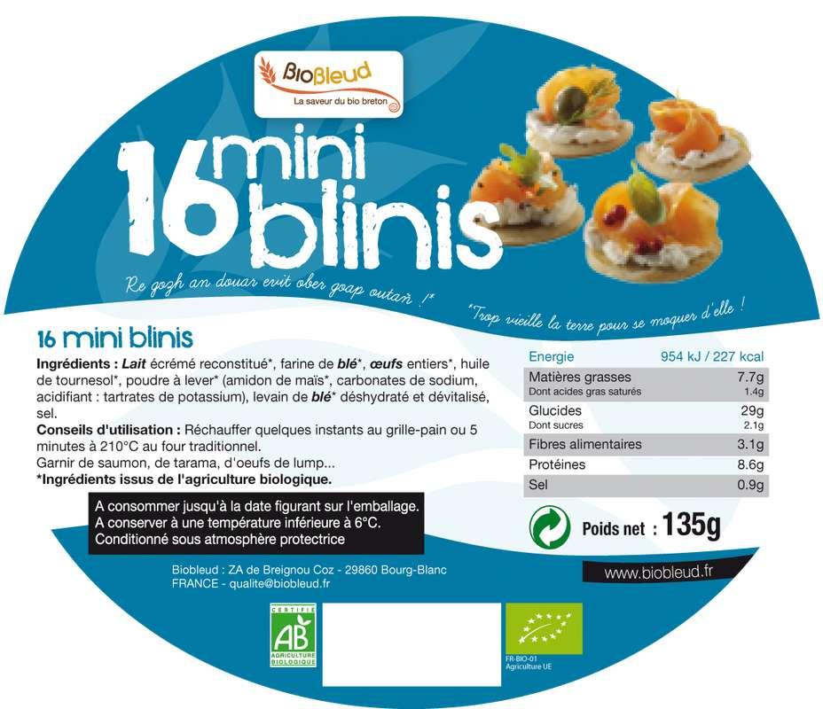 Minis-blinis nature BIO, Biobleud (x16, 135 g)