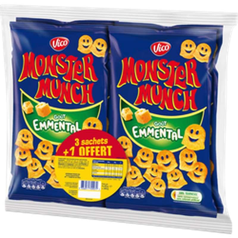 Monster Munch goût emmental, Vico LOT DE 3 + 1 OFFERT (4 x 85 g)