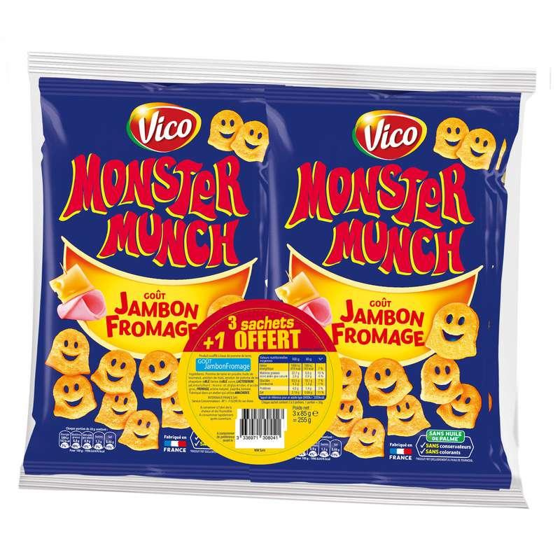 Monster Munch goût jambon fromage, Vico LOT DE 3 + 1 OFFERT (4 x 85 g)