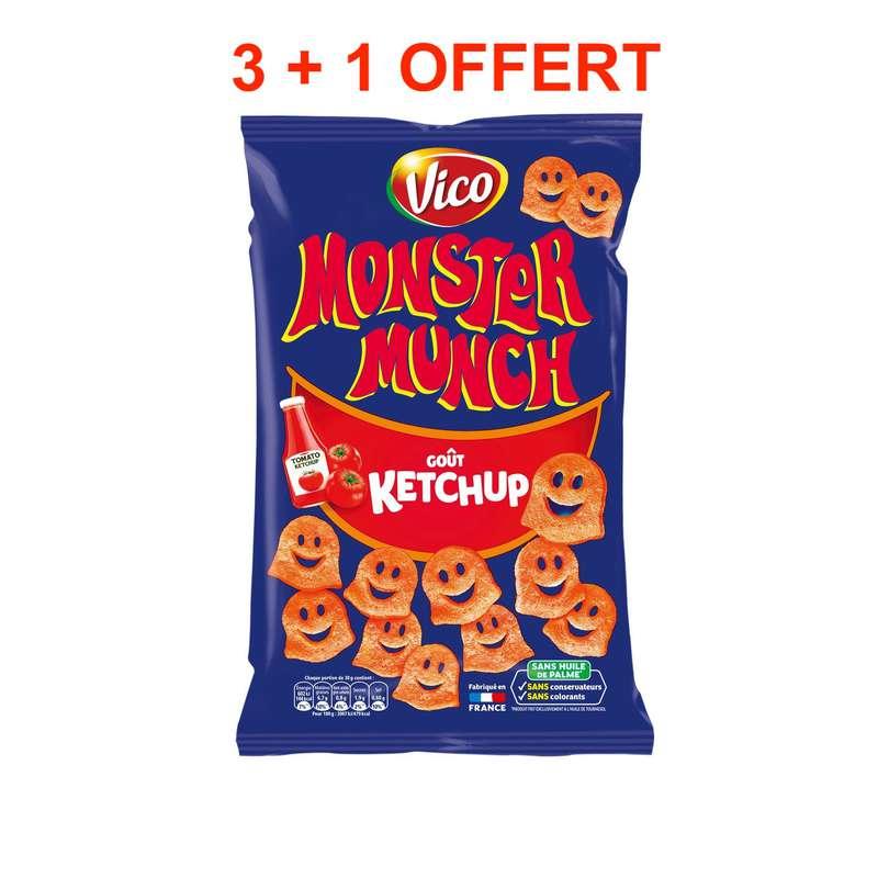 Monster Munch goût Ketchup, Vico LOT DE 3 + 1 OFFERT (4 x 85 g)