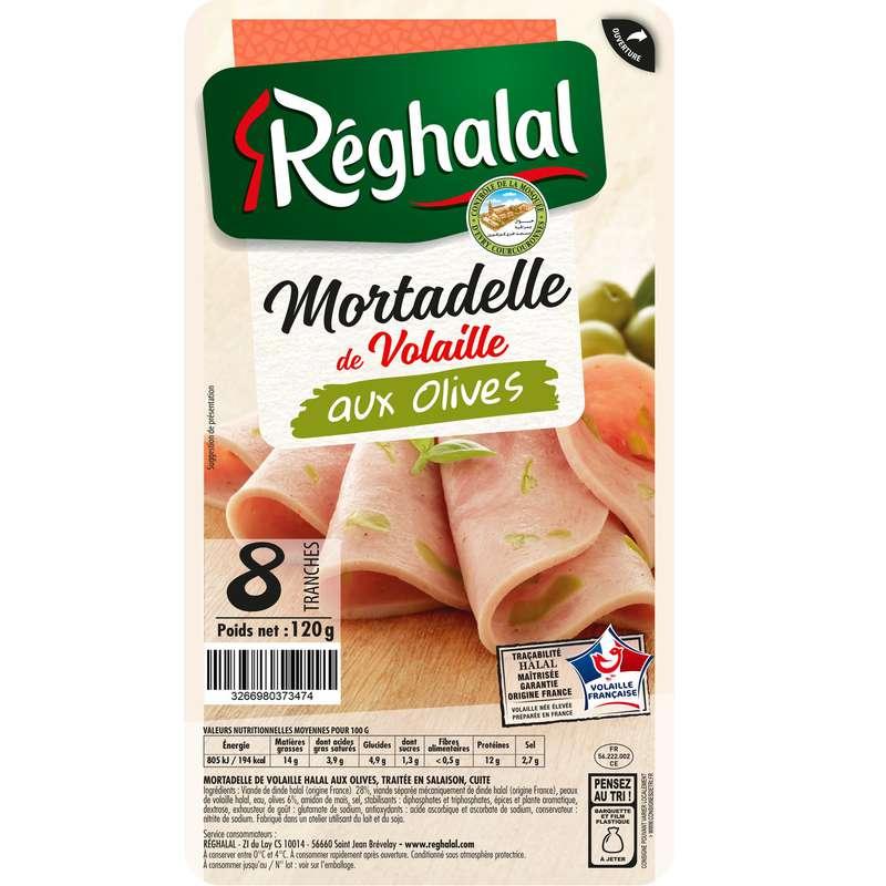 Mortadelle de volaille aux olives Halal, Reghalal (8 tranches, 120 g)