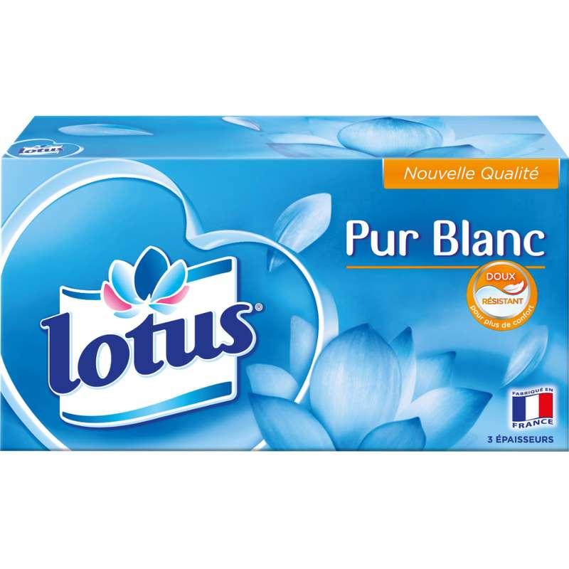 Boite de mouchoirs blancs extrait de Lotus, Lotus (x 90)