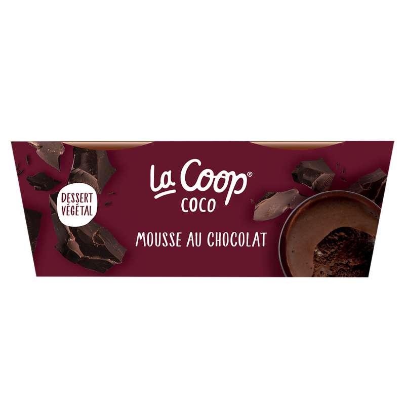 Mousse au Chocolat 100% végétal, La Coop Coco (x2, 130 g)
