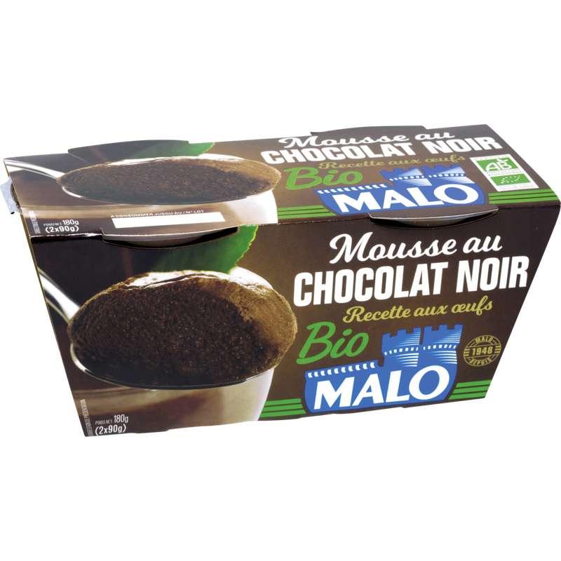 Mousse au chocolat noir BIO, Malo (2 x 90 g)