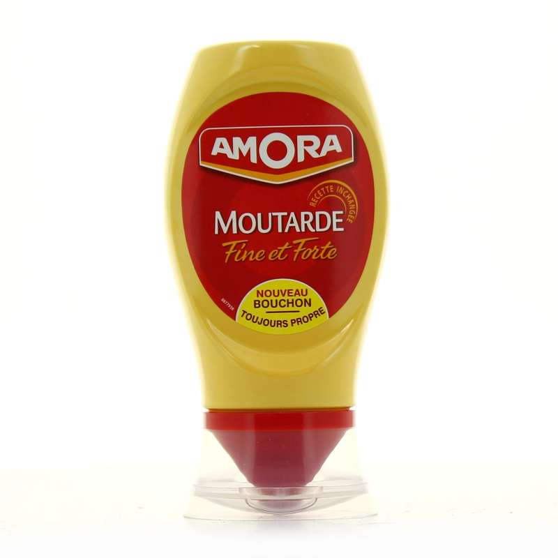 Moutarde fine et forte flacon souple, Amora (265 g)