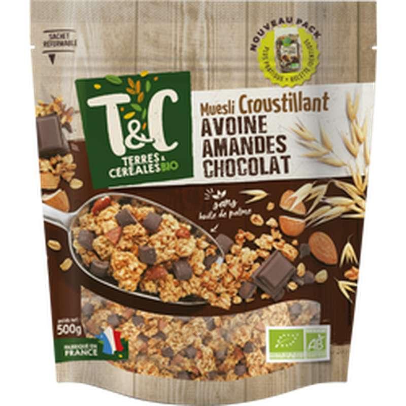 Muesli croustillant Avoine Amande Chocolat BIO, Terres et céréales (500 g)
