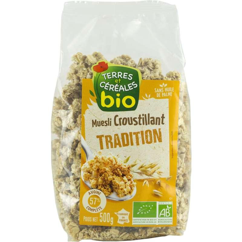 Muesli croustillant tradition BIO, Terre & Céréales (500 g)