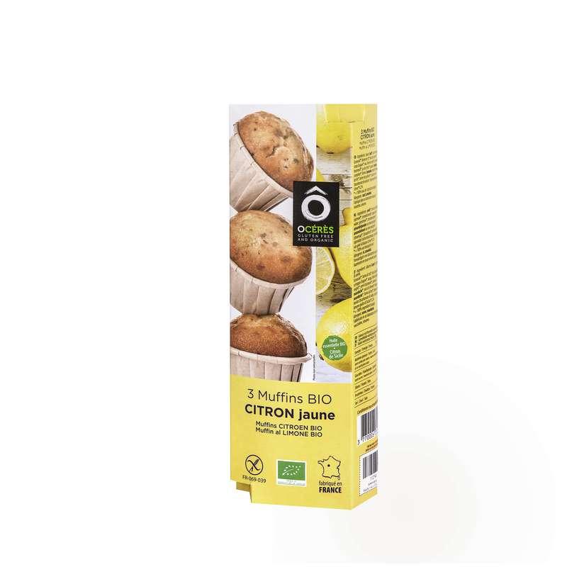 Muffins Citron Jaune de Sicile BIO sans gluten, Ô Cérès (x 3, 135 g)