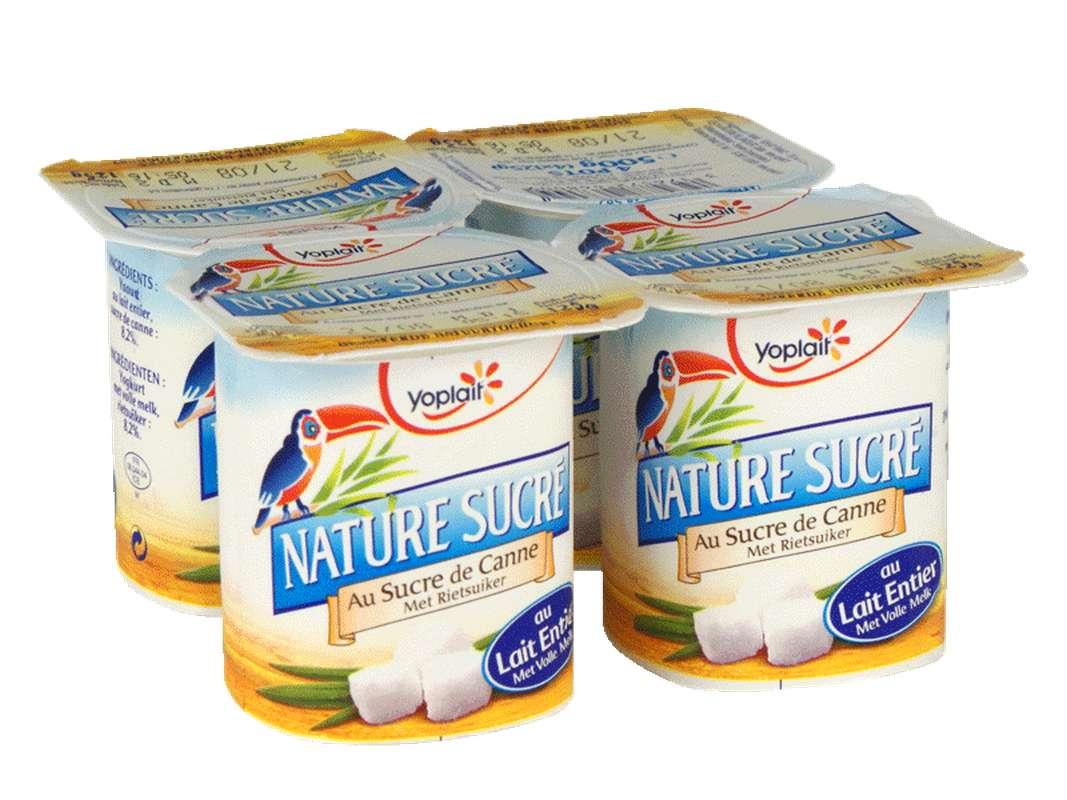 Yaourt nature au sucre de canne, Yoplait (4 x 125 g)