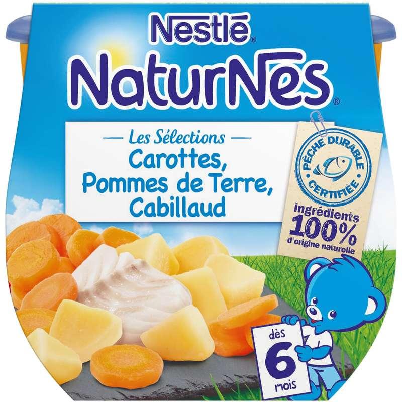 Les sélections carottes, PDT, cabillaud - dès 6 mois, Naturnes Nestlé (2 x 200 g)