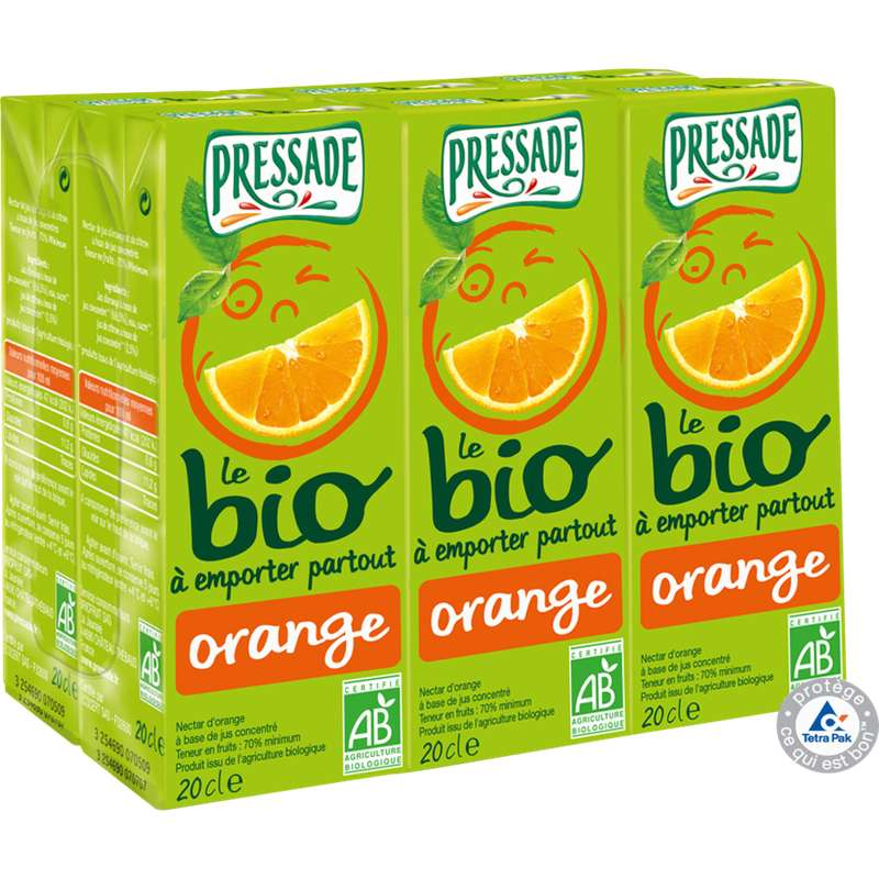 Pack Nectar d'orange BIO, Pressade (6 x 20 cl)