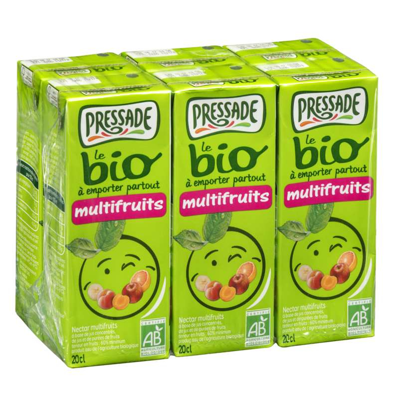 Pack Nectar multifruits BIO, Pressade (6 x 20 cl)