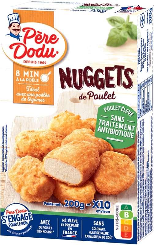 Nuggets de poulet élevé sans traitement antibiotique, Père Dodu (x 10, 200 g)