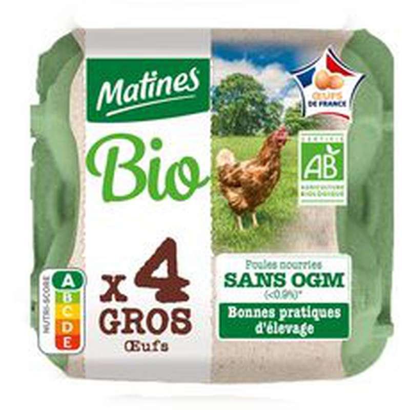 Oeufs très gros sans OGM BIO, Matines (x 4)
