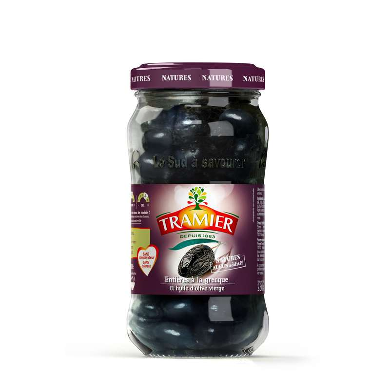 Olive noire entières, Tramier (250 g)