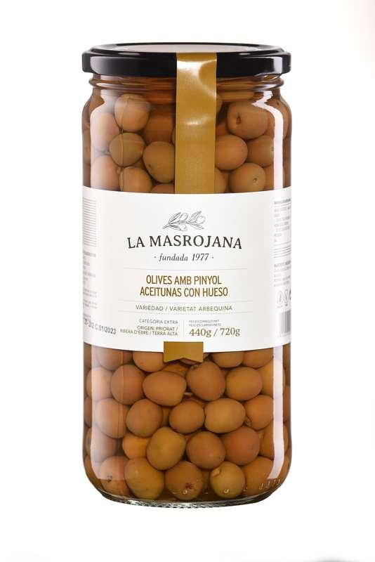 Olives vertes Arbequine avec noyau, La Masrojana (450 g)