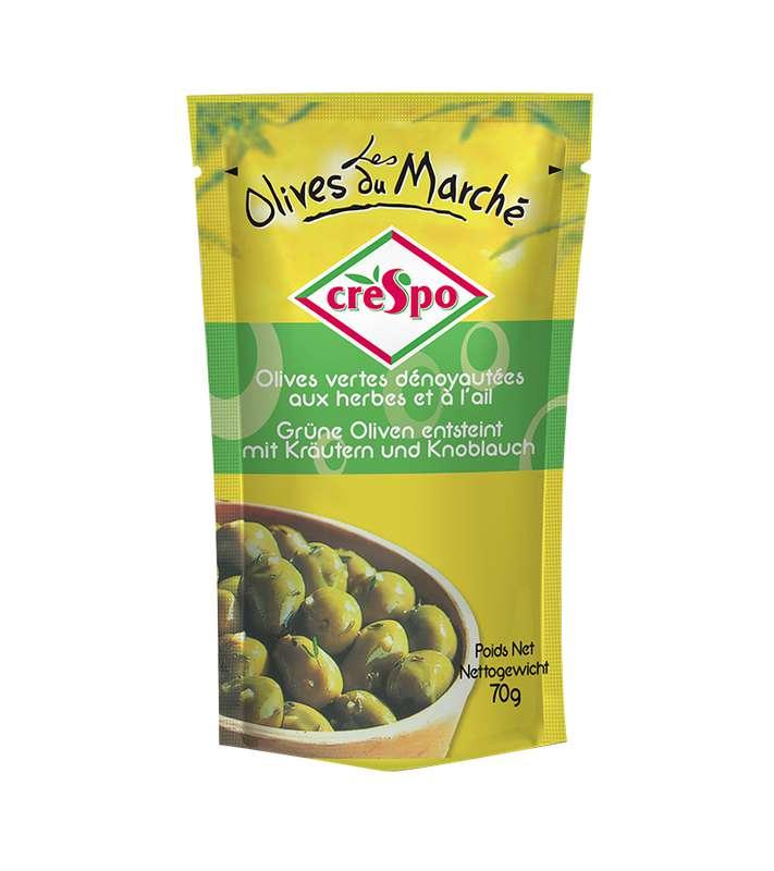 Olives vertes dénoyautées aux herbes et à l'ail, Crespo (70 g)