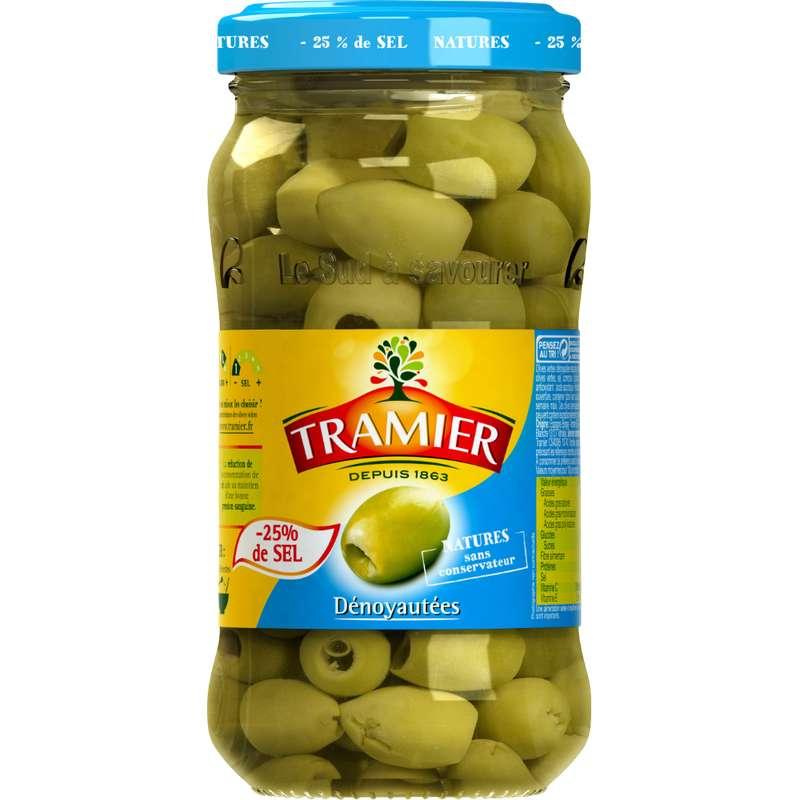 Olives vertes dénoyautées 25% de sel, Tramier (160 g)